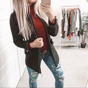 Zara Frock Tweed Open Front Jacket Black Gold Trim